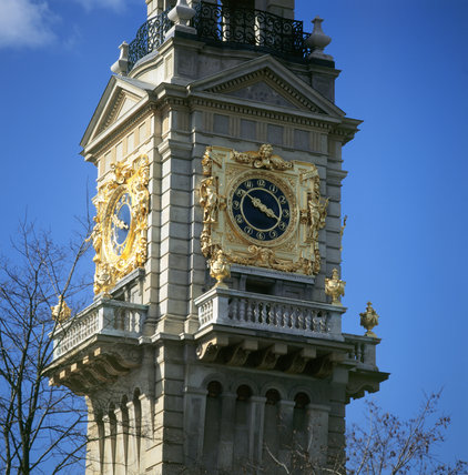 Close-up of the clock a top Henry Clutton's water-tower, Cliveden