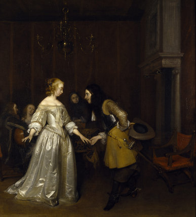 DANCING COUPLE by Gerard Terborch (1617-1681) from the Corridor at Polesden Lacey