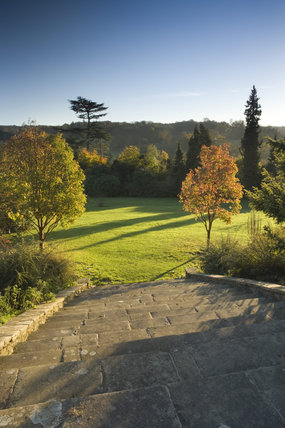 The Sunken Garden at Polesden Lacey, Surrey, with Acer griseum trees in autumn colours and long shadows created by the low sunlight