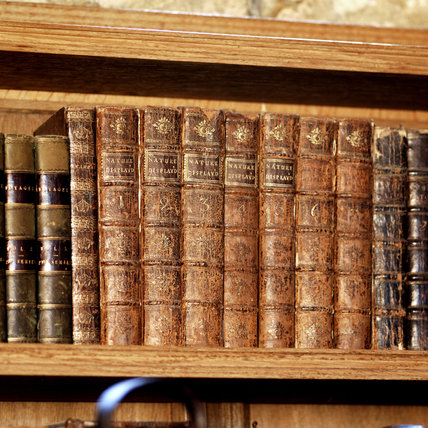 A row of leather bound books on a shelf, part of the Charles Wade collection, in Meridian at Snowshill Manor