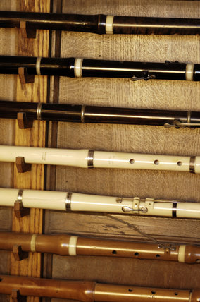 C19th flutes, part of the musical instrument collection of Charles Paget Wade in the Music Room at Snowshill Manor, Gloucestershire
