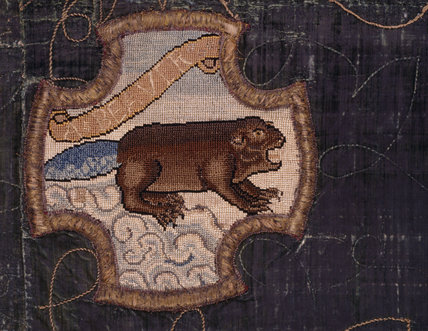 A beaver motif from the Marian Needlework at Oxburgh Hall