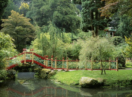 China, the most famous of the 'national' gardens at Biddulph showing the view from the Temple of the wooden footbridge over the stream and the Joss House amongst the trees