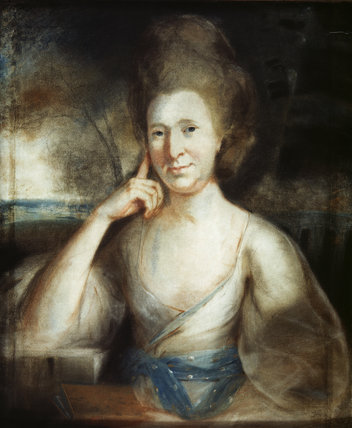 HENRIETTA, COUNTESS OF ONSLOW, daughter of Sir John Shelley, Bart, wife of Edward, 1st. Earl of Onslow, painted by John Russell, 1745-1806 (?), at Clandon in the Red Stairs Store.