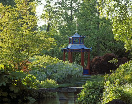 The island and pagoda in the Water Garden at Cliveden