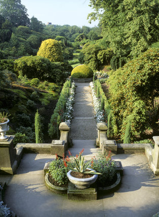 The Italian garden at Biddulph Grange from the steps on the