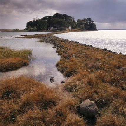The causeway leading to Mid Island from Ballyurnanellan at Strangford Lough