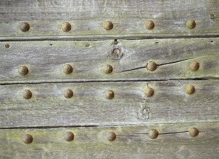 A weathered door with bolts in it in the garden at Nymans
