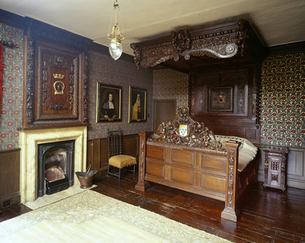 View of the flying tester bed in the North Room at Oxburgh Hall