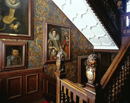View up the stairs in the West Staircase at Oxburgh Hall