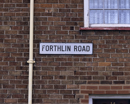 Close shot of the street sign Forthlin Road