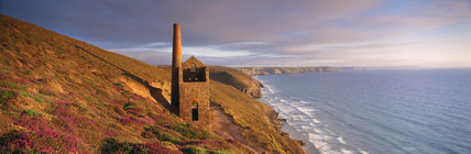 Towanwroath Shaft pumping engine house, part of Wheal Coates mine on the cliffs near St Agnes
