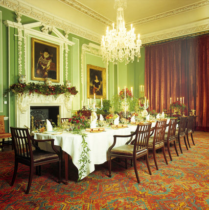 View of the Dining Hall table set for a Christmas celebration at Tatton Park