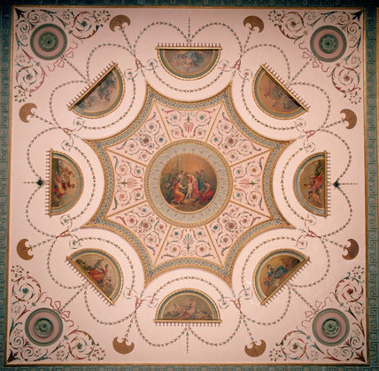View of Adam ceiling in the Tapestry Room at Nostell Priory