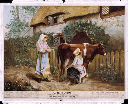 MILKING TIME, 1893 Calendar for C S Hilton, Grocer & Bread Baker, Town Road (next to Courthouse) Croston