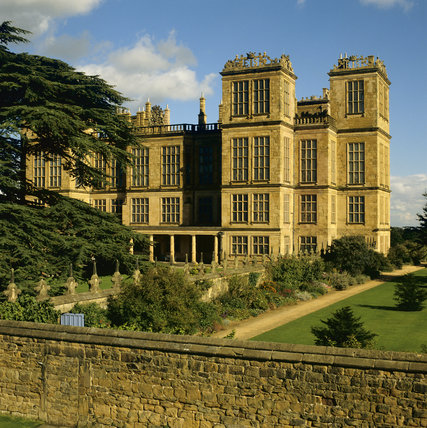 View across the garden to the entrance front of Hardwick Hall, an Elizabethan House built 1591-97