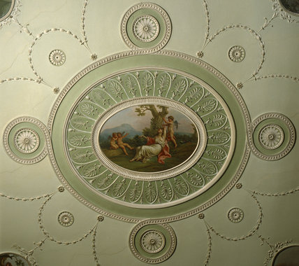 Close-up view of the ceiling in the State Bedchamber at Osterley Park