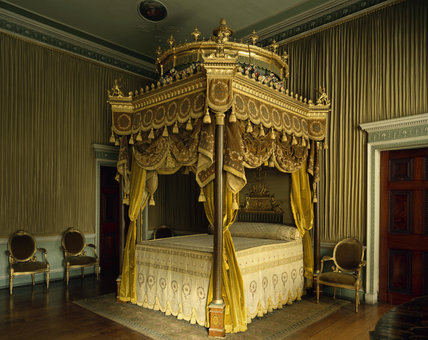 The State Bed in the State Bedchamber at Osterley, showing the eight-poster bed designed by Adam in 1775-76, conceived as a Temple of Venus (as found in classical gardens)