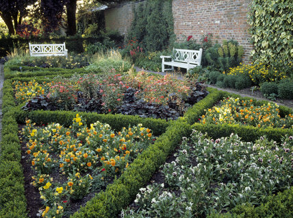 View of the Parterre in the west Formal Garden at Beningbrough Hall