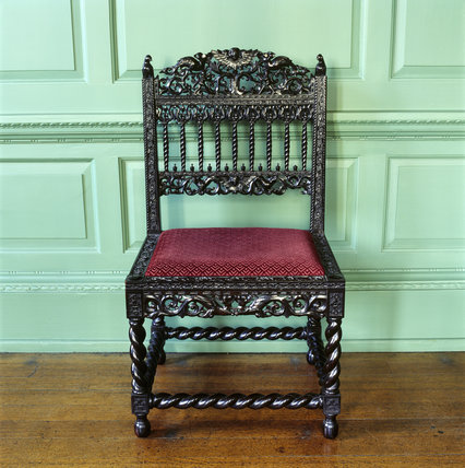 The Indo-Portuguese ebony chair in the West Sitting Room of the Treasurer's House, York