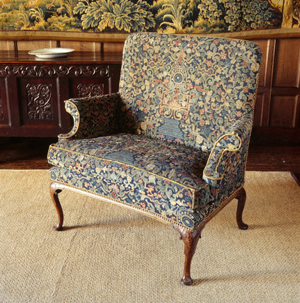 The Queen Anne love seat in the Tapestry Room of the Treasurer's House, York
