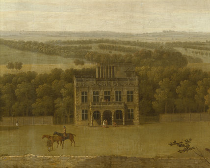 Detail from the painting VIEW OF LODGE PARK by George Lambert