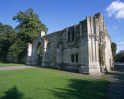 The south front of the ruins of Ramsey Abbey Gatehouse