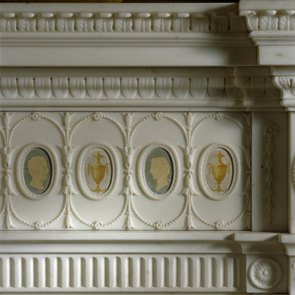 Part of the cameo decoration on the chimneypiece in the Tapestry Room at Osterley Park
