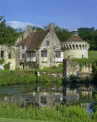 Old Scotney Castle with the 14th century Ashburhman Tower seen from across the moat