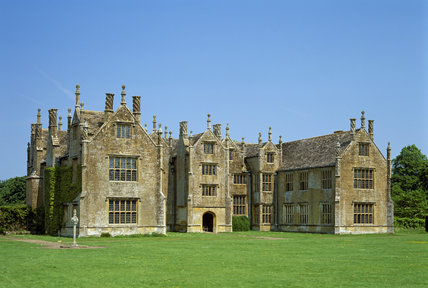 A full view of Barrington Court, a fine Tudor manor house in Somerset