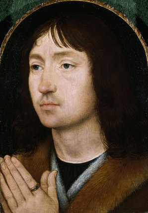 AN UNKNOWN MAN or Portrait of a Praying Man, by Hans Memling (c.1430/40 - 94), at Upton House, post-conservation.