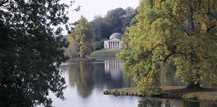A view across the lake at Stourhead towards The Pantheon, inspired by the Pantheon in Rome & built by Flitcroft in 1753-4