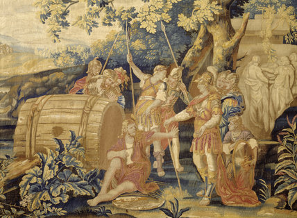 Detail of the best of the Diogenes Tapestries in the Blue Bedroom