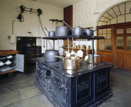 The Kitchen with the black cooking-range at Tatton Park