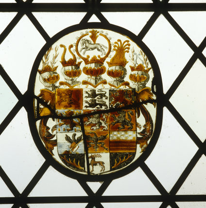 Kings Room at Oxburgh, continental painted glass heraldic roundels, C16th and C17th