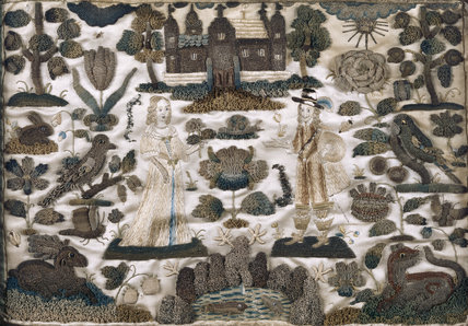 A mid-seventeenth century stumpwork embroidery on silk depicting a man and a woman surrounded by birds, animals and trees, in the Musicians' Gallery at Trerice