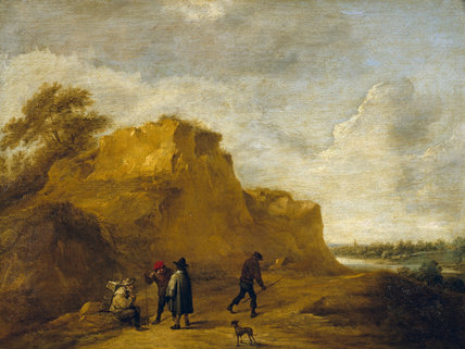 SAND CLIFF AND FIGURES by David Teniers (1610-1690) from the Square Dining Room at Petworth (Dec 1992)