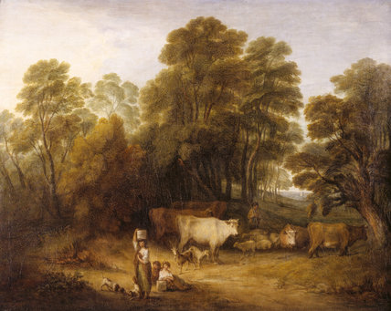 LANDSCAPE: CHILDREN AND CATTLE after Thomas Gainsborough (1727-88) from the North Gallery at Petworth (Dec 1992)