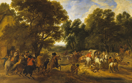 BANDITS HOLDING UP TRAVELLERS by Adam Frans van der Meulen (1632-1690) from the Somerset Room at Petworth (Dec 1992)