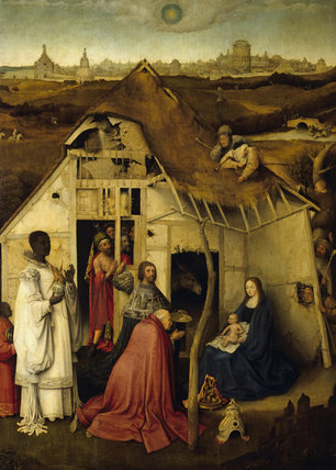 ADORATION OF THE KINGS attributed to Hieronymus Bosch (1480/81-1516), a unique variant of the central panel of the triptych now in the Prado, Madrid