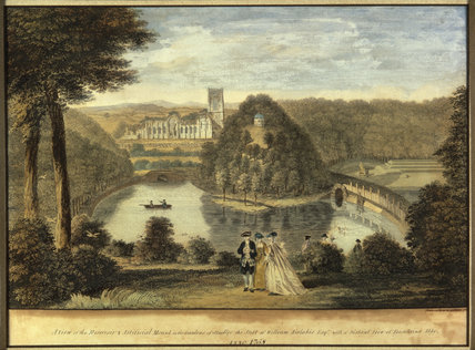 View of Fountains Abbey and Tent Hill from the gardens of Studley Royal, Yorkshire, 1758, by Anthony Walker (1726-1765)