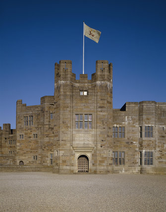 The Entrance Tower of Castle Drogo with flag flying