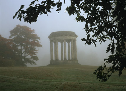 The Rotunda in the grounds of Petworth, shrouded in early morning mist