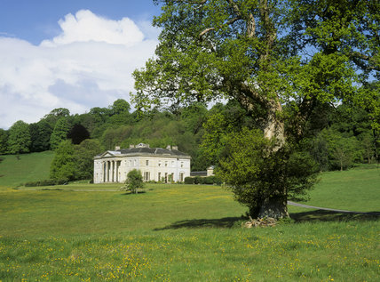 Oblique view across the park of Philipps House, Salisbury, Wiltshire, an early 19th century neo-Grecian house, designed by Jeffry Wyatville for William Wyndham, completed in 1820