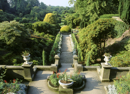 The Italian Garden from the terrace at the top of the steps, with the central circular stone trough in the background, at Biddulph Grange Garden, Staffs