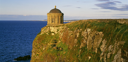 The Mussenden Temple on the Downhill Estate seen in clear evening light