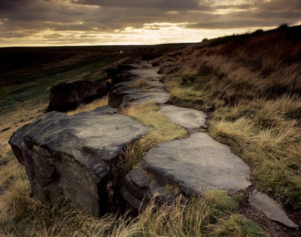 Close shot of the boulders and moorland at Gritstone Edge, Buckstones Moss, Marsden Moor, West Yorkshire