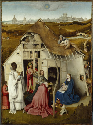 ADORATION OF THE MAGI, attributed to Hieronymus Bosch,c. 1450- 1516, at Petworth House. The kings are presenting their gifts to the child. Post conservation.