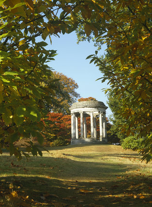 The Rotunda in the grounds at Petworth, seen through a frame of sweet chestnut leaves
