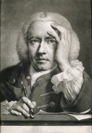A mezzotint SELF PORTRAIT BY THOMAS FRYE, 1760 in the Blue Bedroom at Erddig